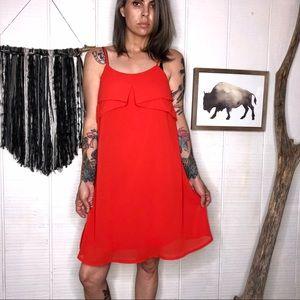 Lulu's red swing/slip flowy dress